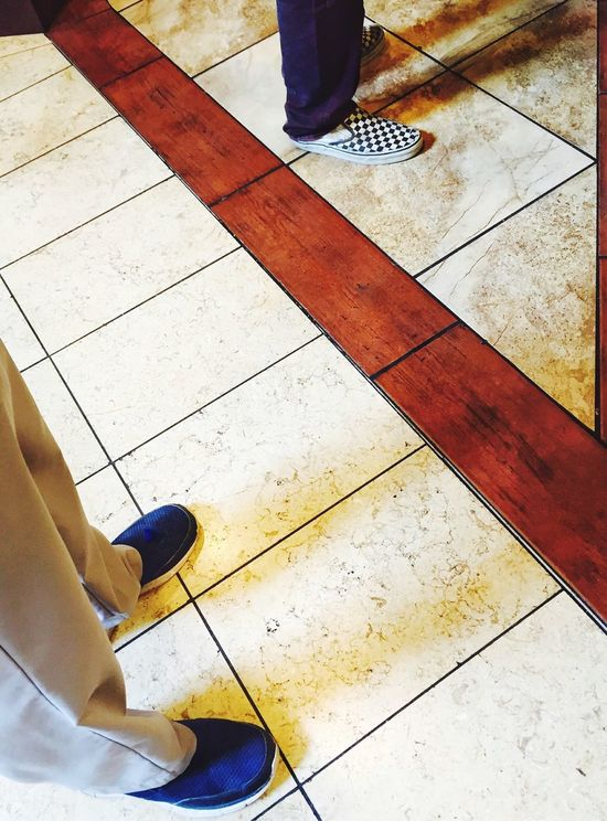 Fine Art Photography Shoes Feet In Line Home Is Where The Art Is Pattern Patterns Geometric Patterns Men Men's Shoes Fresh On Eyeem  Lines Two Is Better Than One Lines And Patterns Floor Flooring Tile Tiles Tiled Floor Looking Down Adapted To The City Separation Separate Standing Standing Alone
