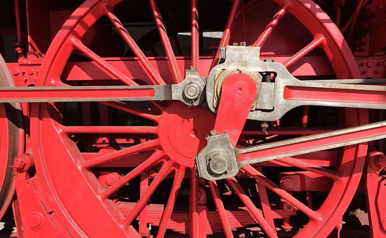 Red Business Finance And Industry Pattern Wheel Close-up Industry No People Outdoors Day Train Steam Train Steam Locomotive Technoseum Museum Detail