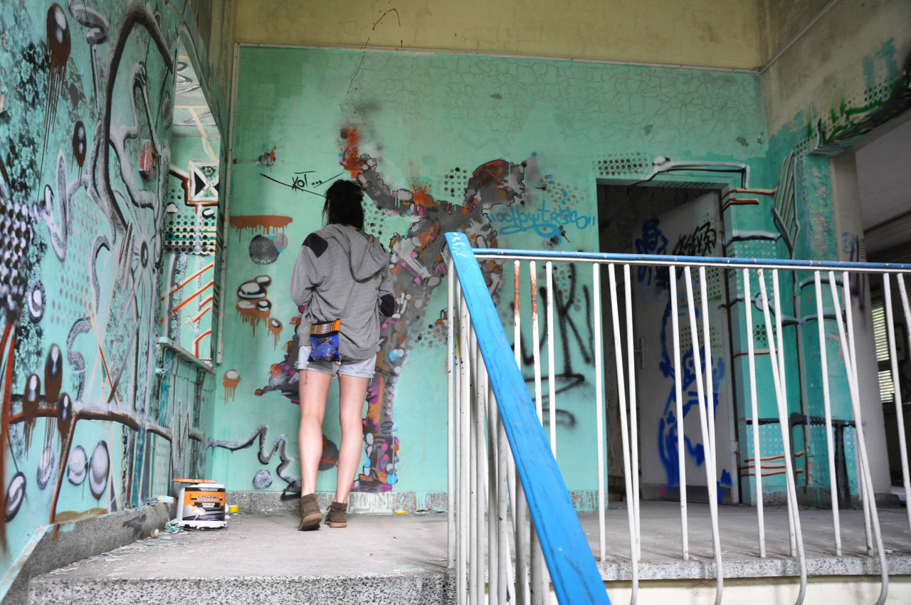 Abandoned Berlin Building Colors Day Grafitti Horizon Over Water Hospital Indoors  One Person Paint Decay People
