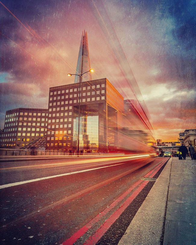 Ghost Bus Long Exposure Light Trail Street Transportation Built Structure Motion Architecture Blurred Motion Cloud - Sky Tower Atmospheric Mood EyeEm Masterclass Shard London Streetphotography Londonlife Romantic Sky The Shard City Life Cityscapes City Street London Bus My Favorite Place Building Exterior City Skyline