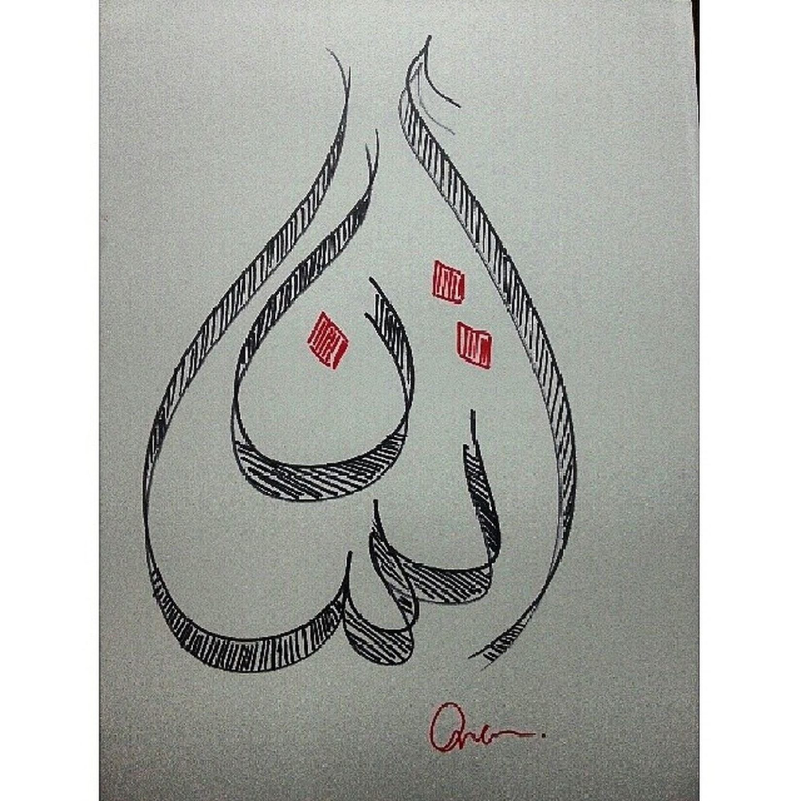 ? ArtWork Myname  Arabic Islamiccalligraphy art arabiccalligraphy iman red black markers ﺍﻳﻤﺎﻥ