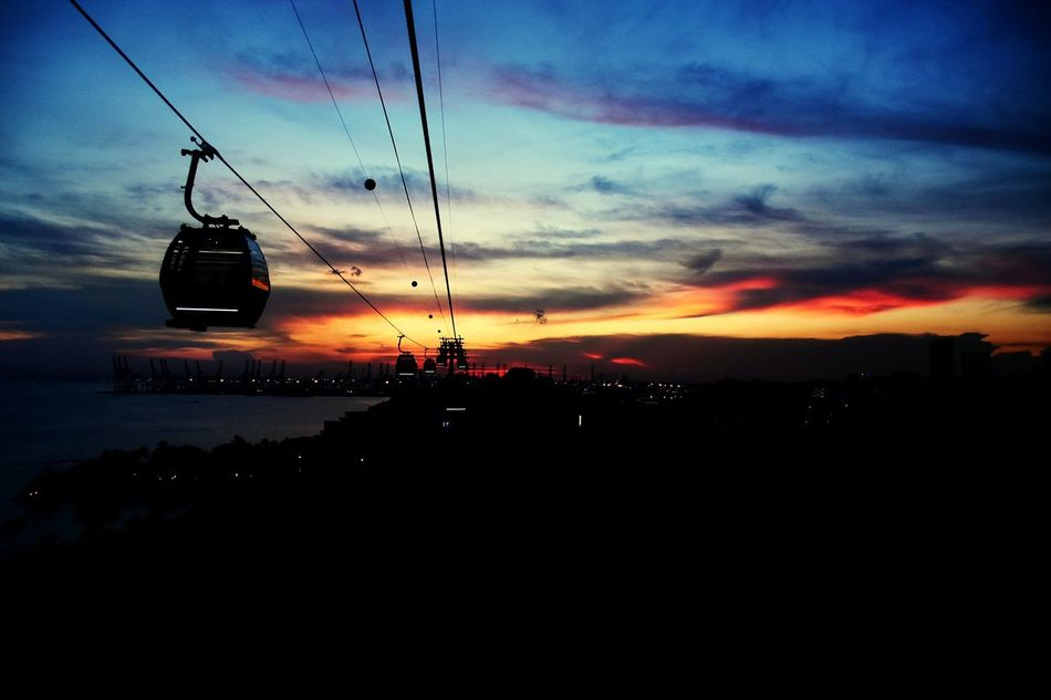 Cable Car Singapore Singapore View Sentosa Sentosa Ride Pretty Sunset Sunset Silhouettes Sentosa Singapore Cities At Night Colours Of Life