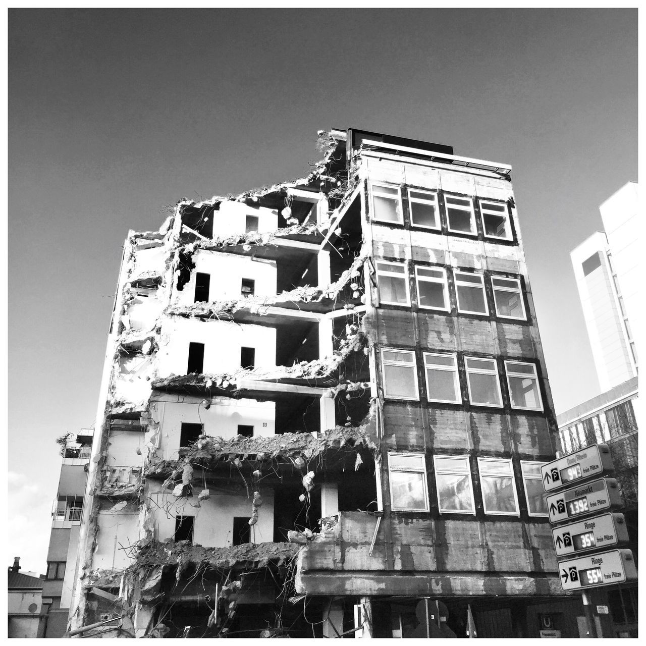 Architecture Building Exterior Low Angle View Built Structure Outdoors Day Clear Sky No People City Sky Demolition Blackandwhite