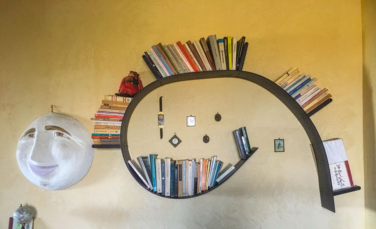 Art Is Everywhere Indoors  No People Large Group Of Objects Desk Stapler Clock Desk Organizer Day Books Shelf Lifestyles Italy House Wall Interior Design Interior Style