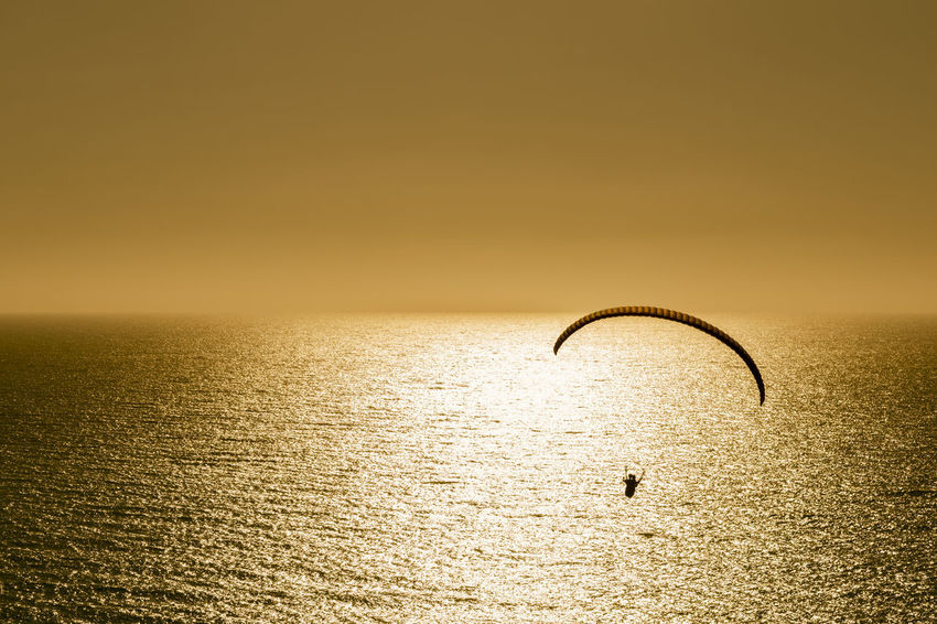 Silhouette of paraglider flying at sunset over the sea Freedom Fun Paragliding Silhouette Sunlight Vitality Action Activity Adventure Extreme Sports Flight Flying Gold Colored Hobby Horizon Outdoors Parachute Paraglider Scenery Sea Sky Soaring Sunset Tranquil Scene Tranquility