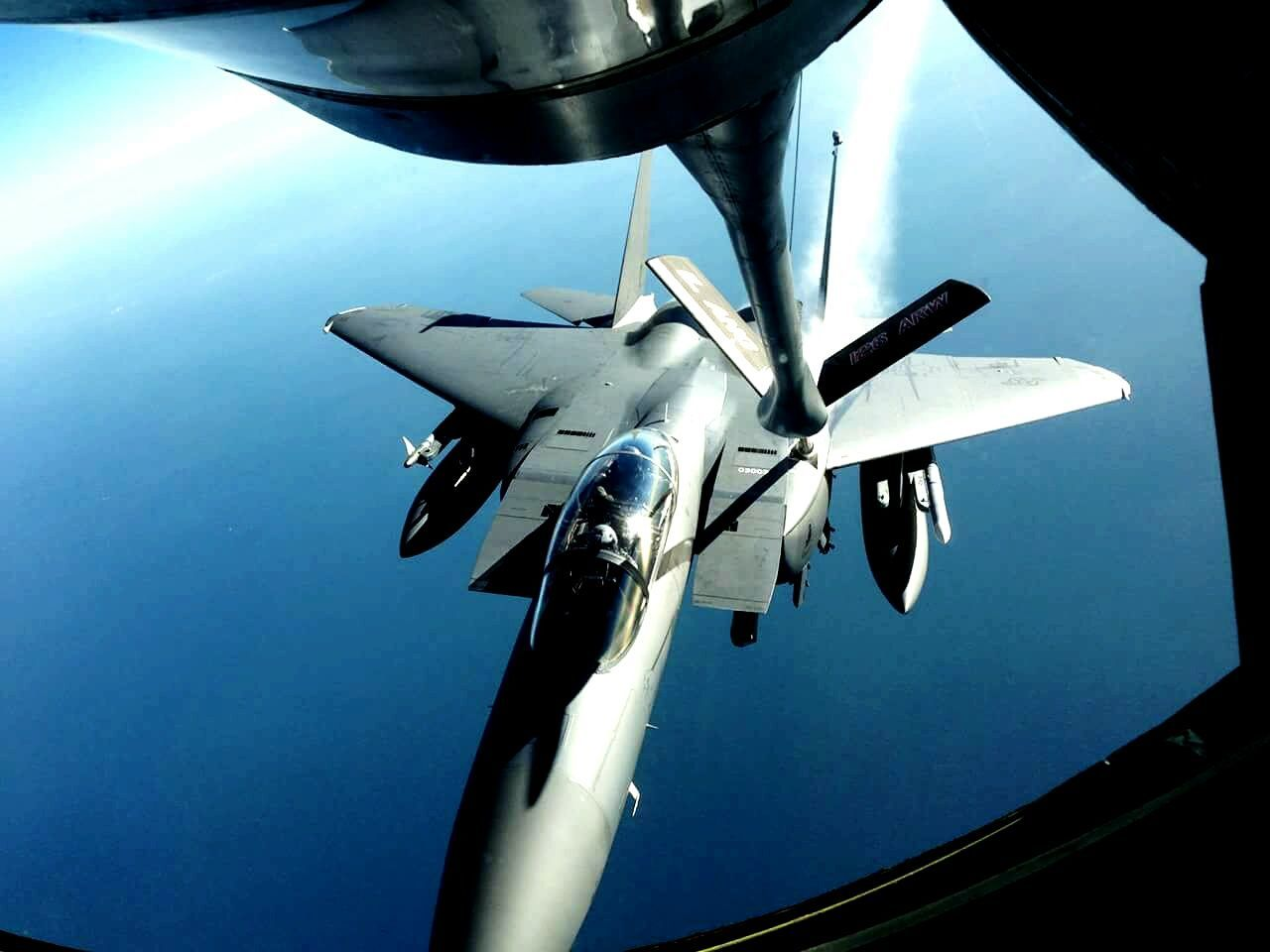 F15E Military Life Air Refuel Fighter Jet Fighterplane Kc135 Tanker Strike Eagle
