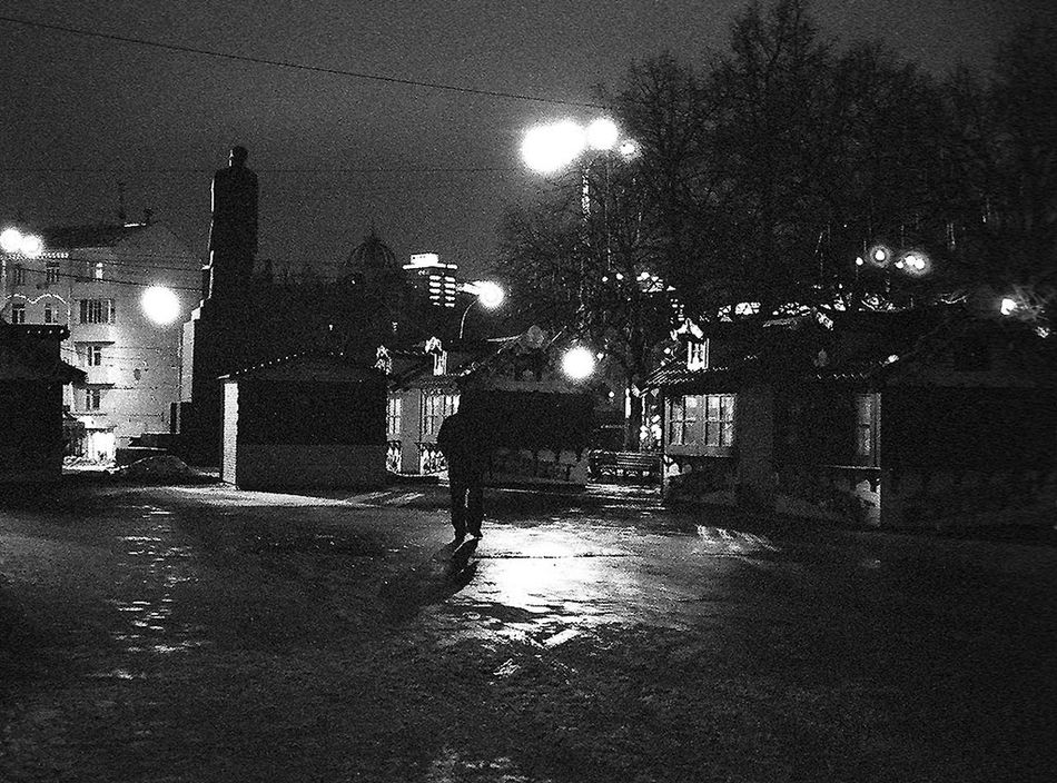 Moscow Night Winter Late Walks Monument Blackandwhite