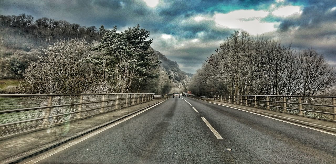 Distance Don't Mean Shit. The Way Forward Cloud - Sky Transportation Beauty In Nature Frosty Mornings Frosted Nature Frosted Trees Wales❤ Wales You Beauty Welsh Road Welsh Countryside Road Drivingshots Sky Tree Day Roadandscenery Winter Nature Week On Eyeem Cold Temperature Cloudscape Through My Car Window Windscreen View