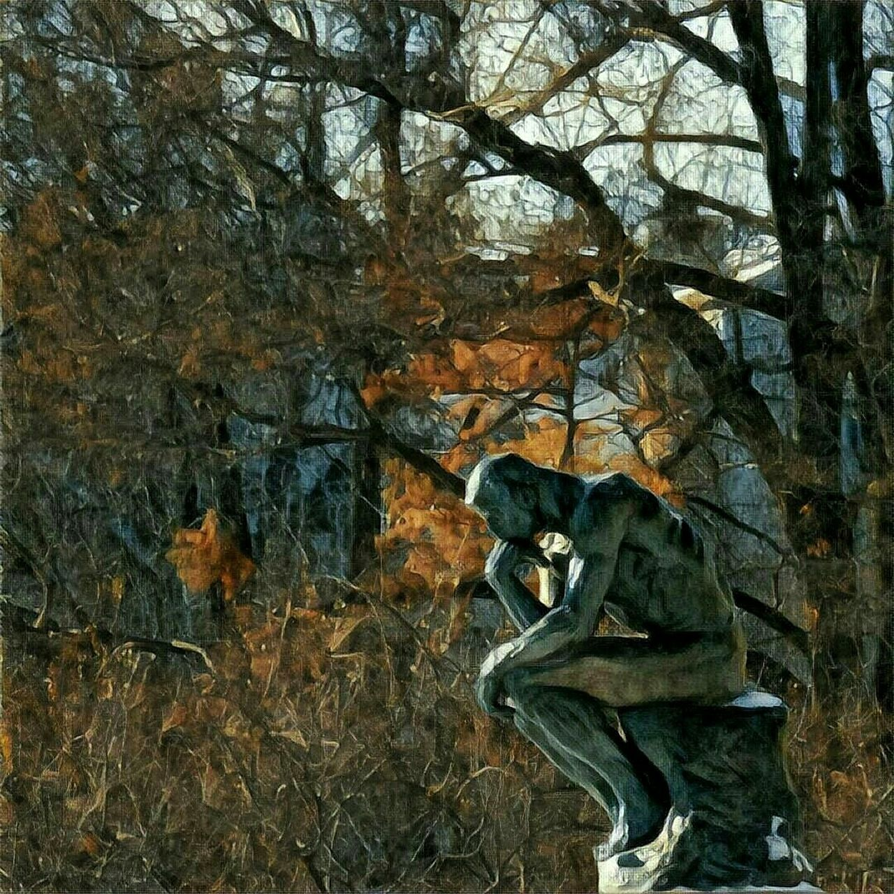 The Thinker, December 2016 Art Sculpture Outdoors Nature Beauty In Nature Prisma Prismacolor Rodin Kansas City Creativity Museum Artistic Photo Tree Day Branch