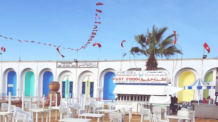 Fast Food Fast Food Restaurant Lablabi Theatre Flags Flags In The Wind  Palm Tree Tunisia Nabeul