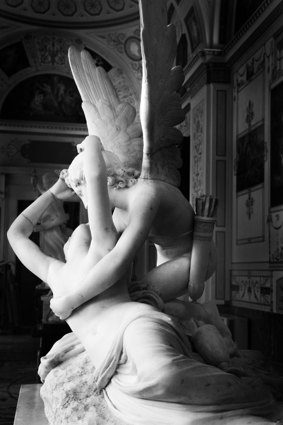 Russia Hermitage Museum Cupid Psyche Revived By Cupid's Kiss Antonio Canova Russia, St.Petersburg Cupid's Kiss Marblecarving Love Kiss B&w Photography B&w