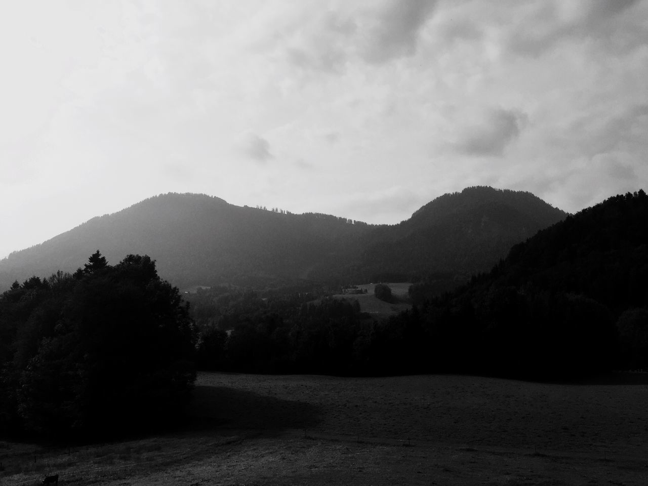 Bavarian Alps landscape Mountain Landscape Nature Tranquility Sky No People Tree Beauty In Nature Outdoors Scenics Day Mountain Range Alps Germany🇩🇪 Bavaria Grass Field Black & White