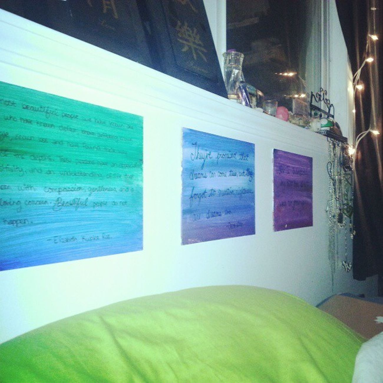 Newest art work. Art Acrylics Paint Blue green purple pink quotes peterpan oliverwilde elizabethkublerros bedroom whitewalls necklaces windowsill necklaces instagood instadaily