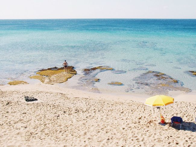 Sommergefühle Sea Beach Water Horizon Over Water Sand Nature Beauty In Nature Scenics Tranquility Sky Day Leisure Activity Men Tranquil Scene Relaxation Outdoors Vacations Clear Sky Real People at Puglia Italy Breathing Space