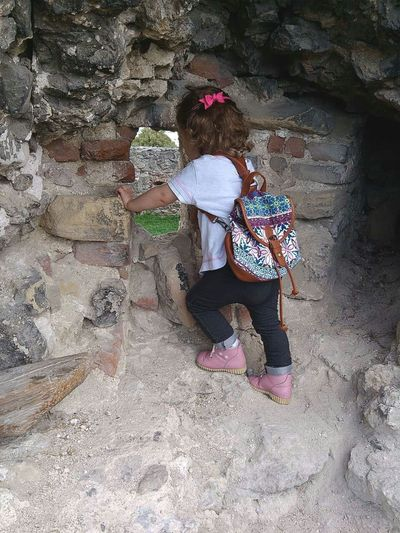 little climber Castle Castle Ruin Castle View  Castle Walls Brick Wall Wall Old Wall Stone Wall Climbing Climber Little Climber Stone Material Stone Climbing Wall Window View Slovakia Slovakiacastle Treking Burg People And Places Ruined Building Babygirl Backpacker Backpack Little Girl