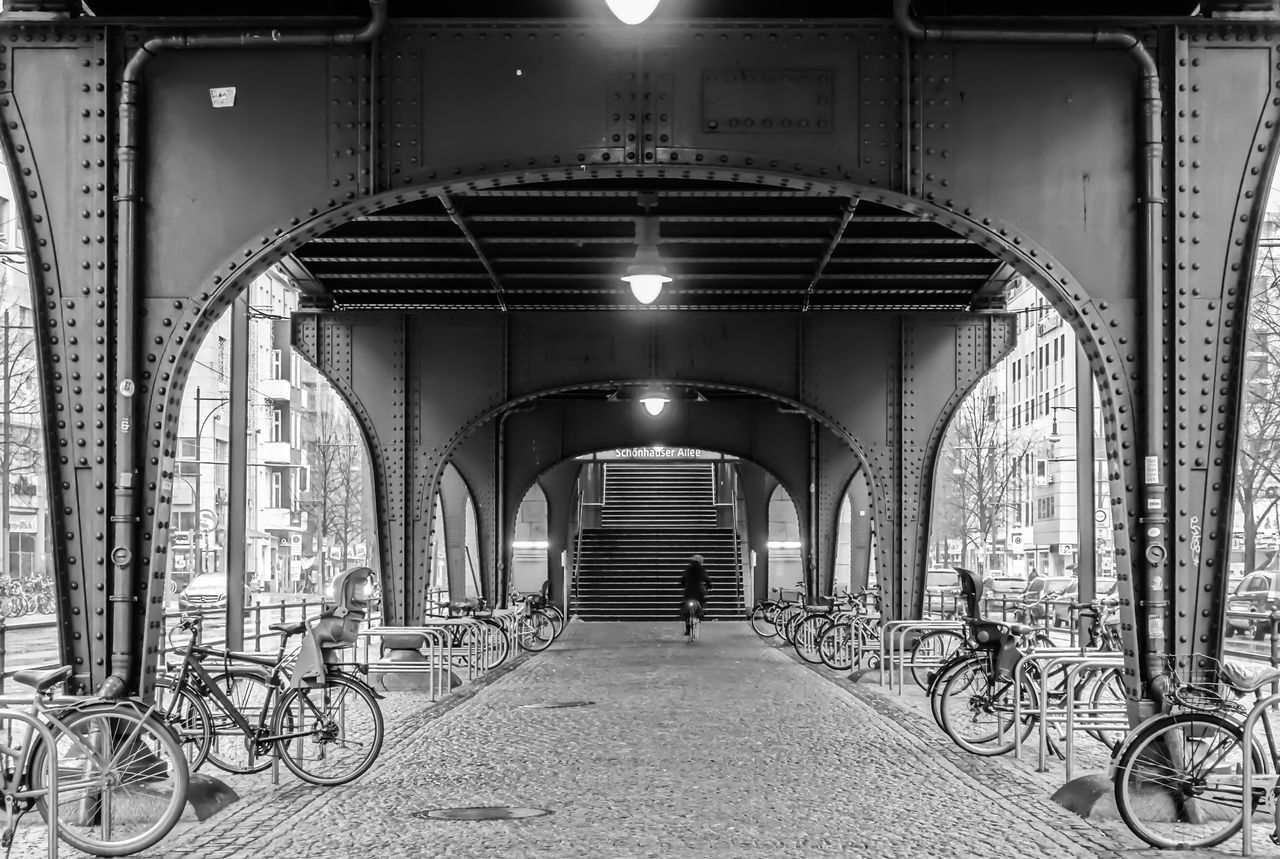 Arch Architecture B&w Berlin Photography Berliner Ansichten Bicycles Black And White Built Structure City Life Day Illuminated No People Outdoors Prenzlauerberg Streetphoto_bw The Way Forward Transportation Tunnel Urban Urban Exploration Viaduct Viadukt