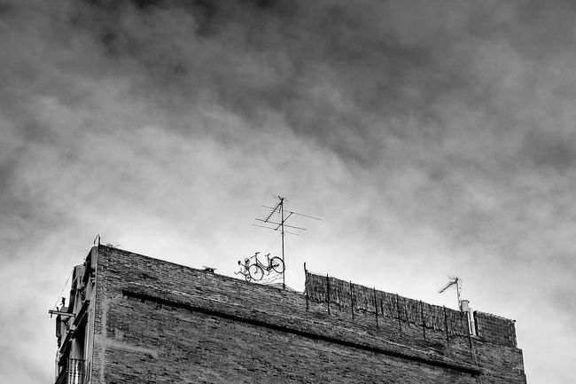Open Edit Monochrome Monochrome_life Blackandwhite Sky Building Bicycle Tricycle WTF Art Tv Antennas