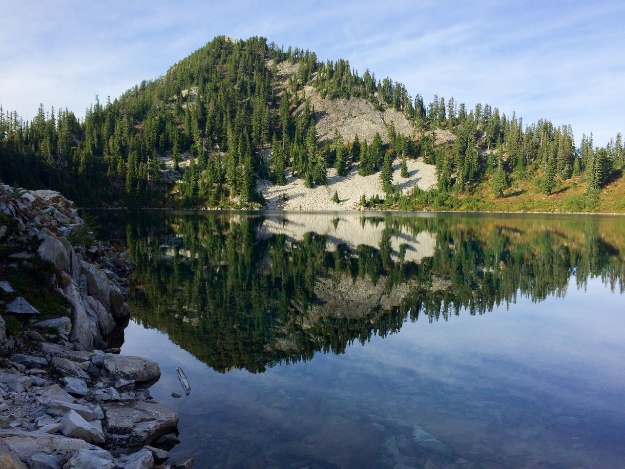 Mountain with lake reflection, no people Beauty In Nature Blue Cloud - Sky Day Forest Lake Landscape Nature No People Outdoors Pine Woodland Reflection Reflection Lake Scenics Sky Tourism Travel Tree Water Wilderness