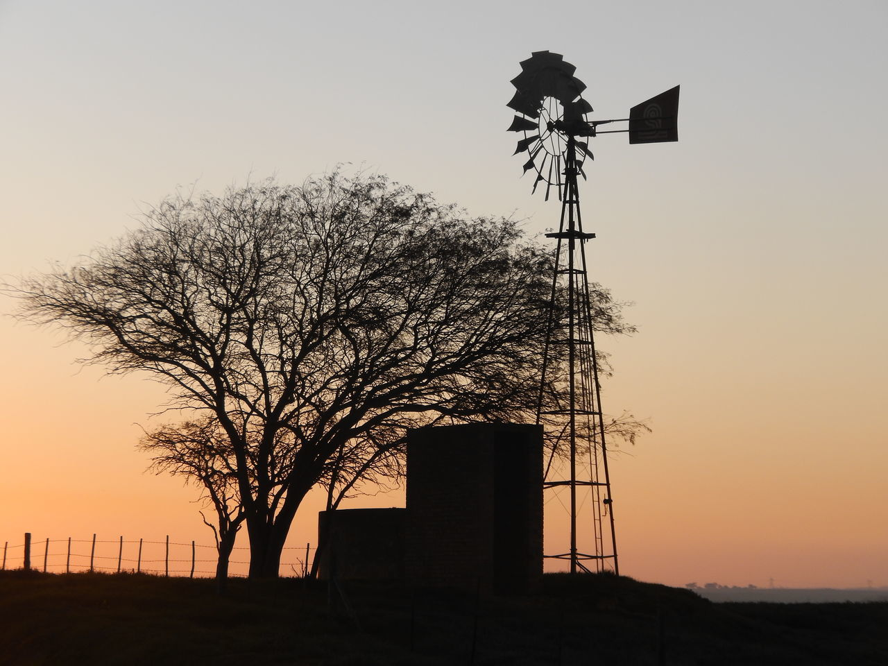Low Angle View Of Silhouette Tree And American-Style Windmill Against Sky During Sunset
