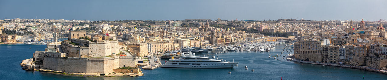 Malta Three Cities Aerial View Architecture Building Exterior City Cityscape Day Grand Harbour Nautical Vessel No People Outdoors Sailing Ship Sea Sky Travel Destinations Water