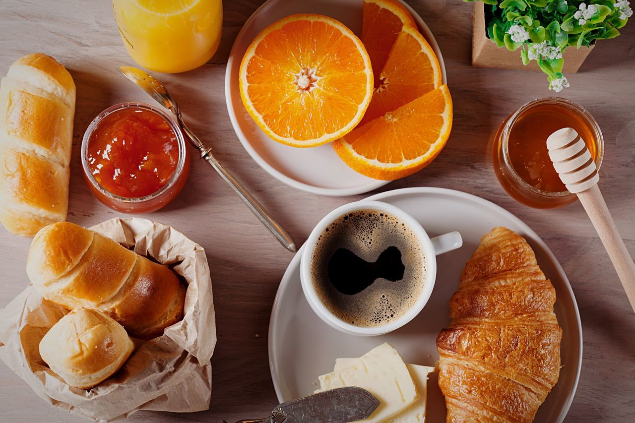 Breakfast French Food Directly Above High Angle View Food And Drink Coffee Cup Croissant Coffee - Drink Drink Food Healthy Eating Refreshment Still Life Orange Orange Juice