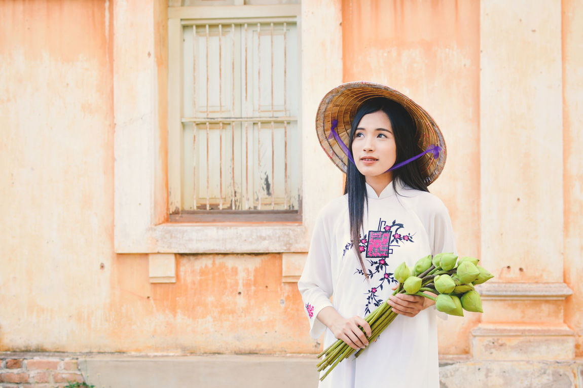 Dress Asian  Beautiful Day Female Lifestyles One Person Outdoors Portrait Real People Standing Traditional Vietnam Vietnamese White Young