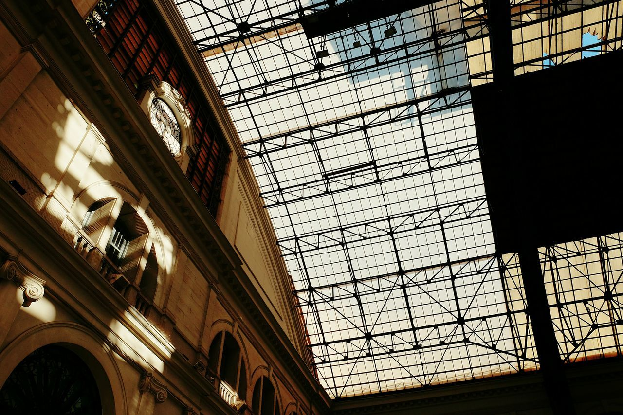 Architecture Built Structure Low Angle View Indoors  No People Day Railroad Station City Sky Sunlight Light And Shadow Light City Low Angle View Indoor