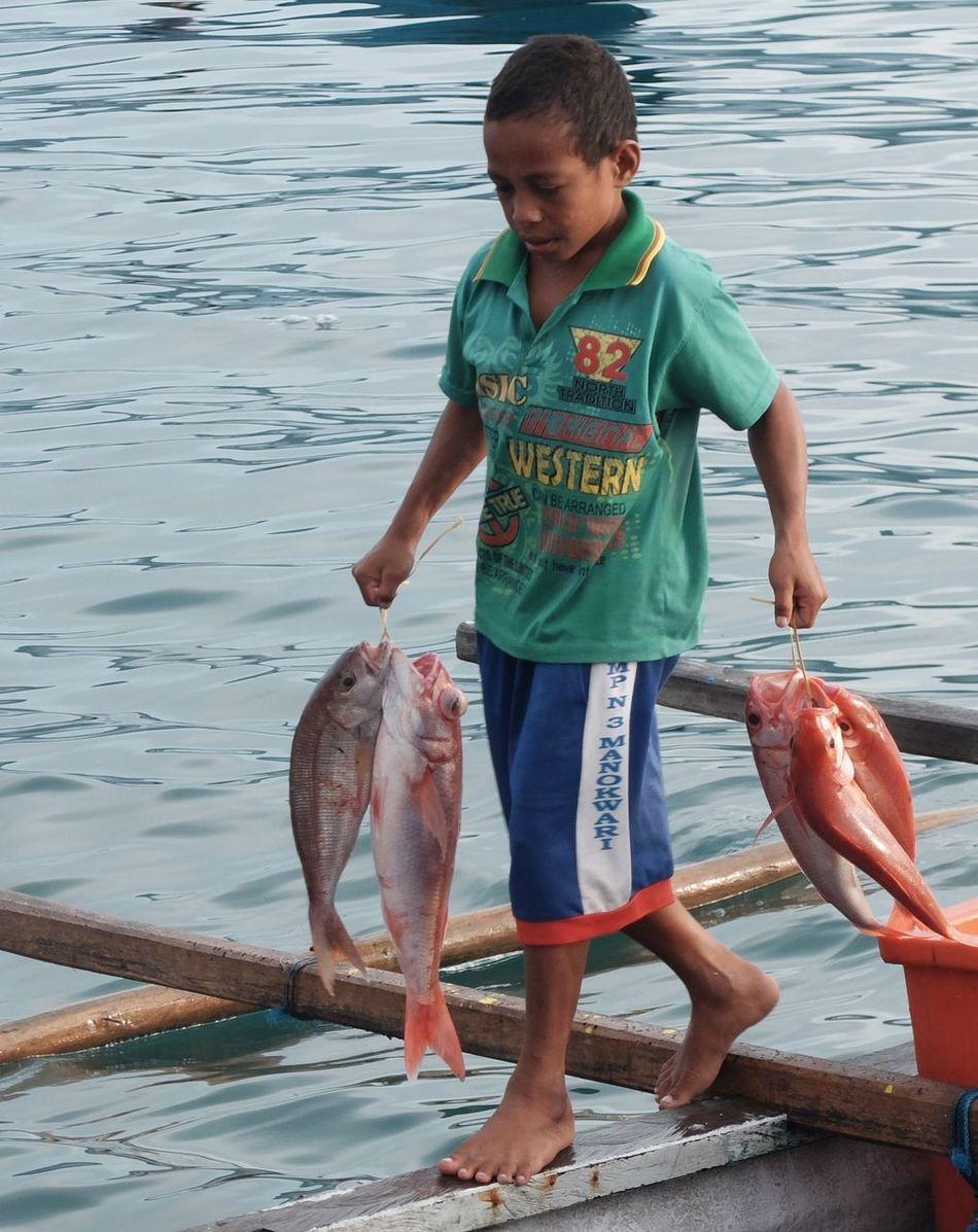 Beach Boys Childhood Day One Person Papua,Indonesia Papuabarat Sea Sea Life