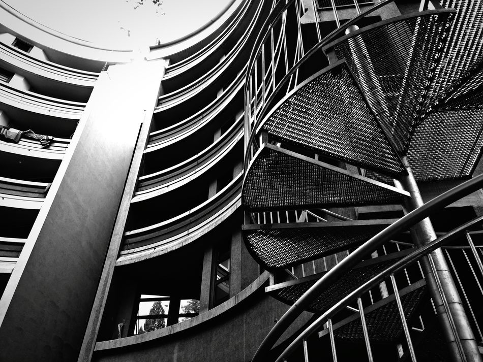 Black And White Monochrome Curves And Lines Urban Architecture Staircase