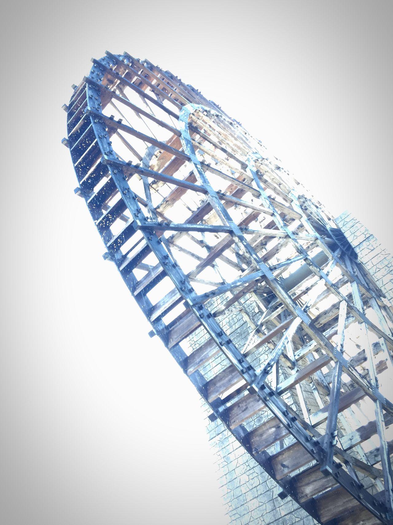 Low Angle View Waterwheel Dramatic Angles