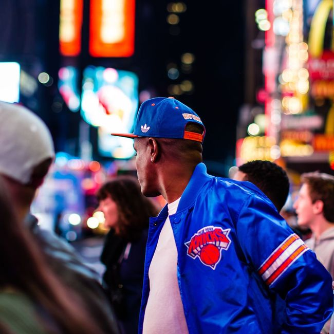 New York   with my 50mm City Street Incidental People Night Overnight Success TimesSquare Rear View Nightphotography Night Lights Broadway Streetphotography Blue New York Medium Group Of People Waist Up Men Focus On Foreground Group Of People Holding Illuminated City Life Person Casual Clothing Young Adult Crowd