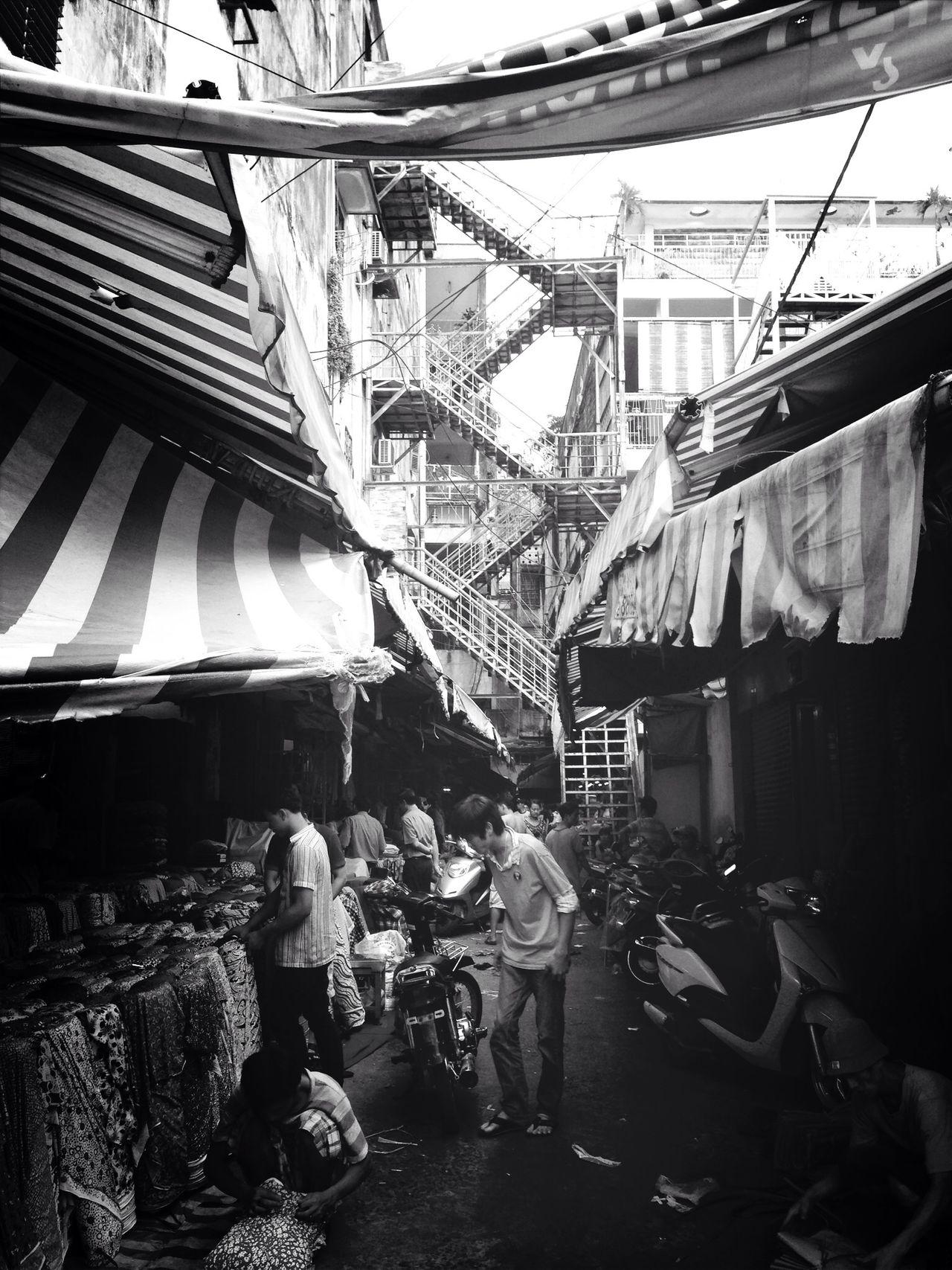 Saigon China Town. Streetphotography Blackandwhite People Architecture