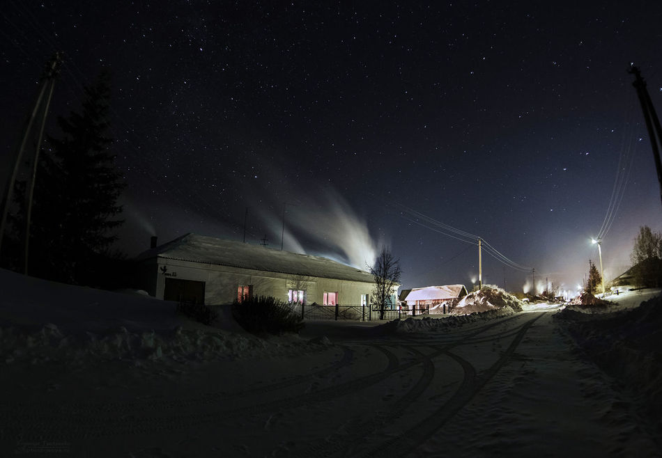 Night Star - Space Outdoors Sky Astronomy No People Nature Country Side Village Stars Winter Light Smoke Home Siberia