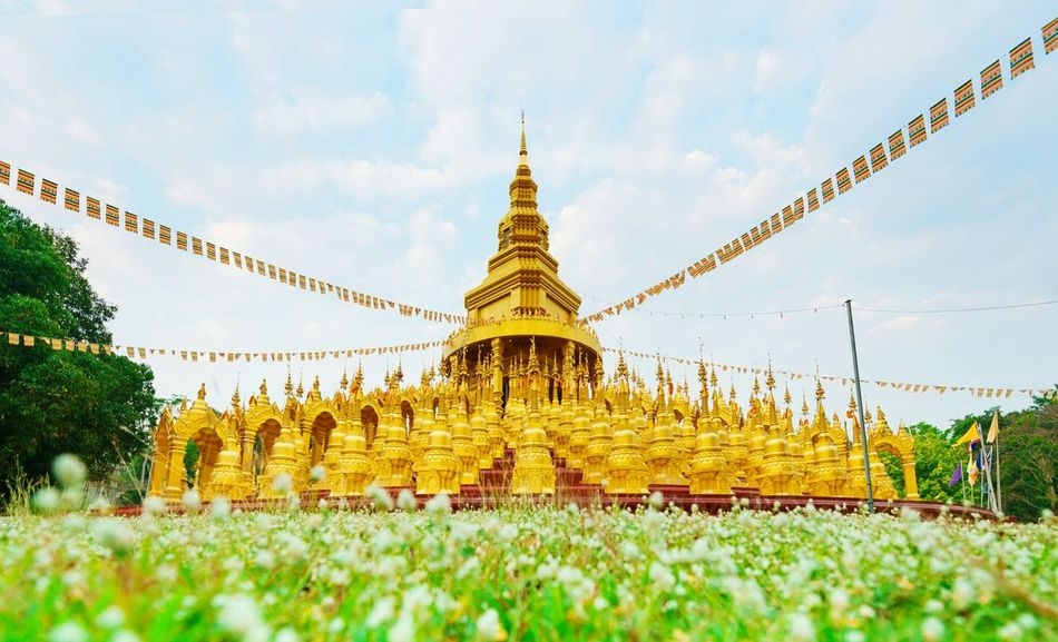 Wat pa bright merit.Phra Maha Chedi Top 500 ThailandOnly Thailand Saraburi Thailandphoto Outdoors Sky And Clouds Green Color Gold Buddhism 43GoldenMoments 43Golden Moments