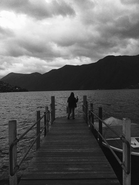 Nature Sky Water Rear View Mountain Beauty In Nature Full Length Railing Wood - Material Boardwalk Scenics Wood Paneling Cloud - Sky The Way Forward Outdoors Tranquil Scene One Person in Lugano Women Around The World
