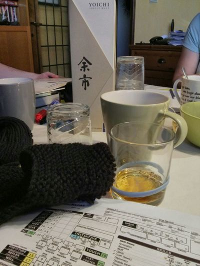 Dnd, Knitting, Single Malt Whisky and Tea. Just another Saturday evening here.