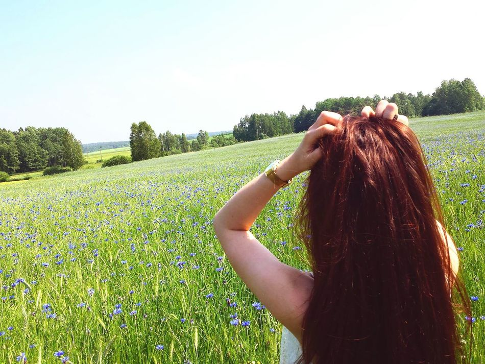 Summer Long Hair Cloud - Sky Nature Young Women Day Outdoors Field Blue Flowers