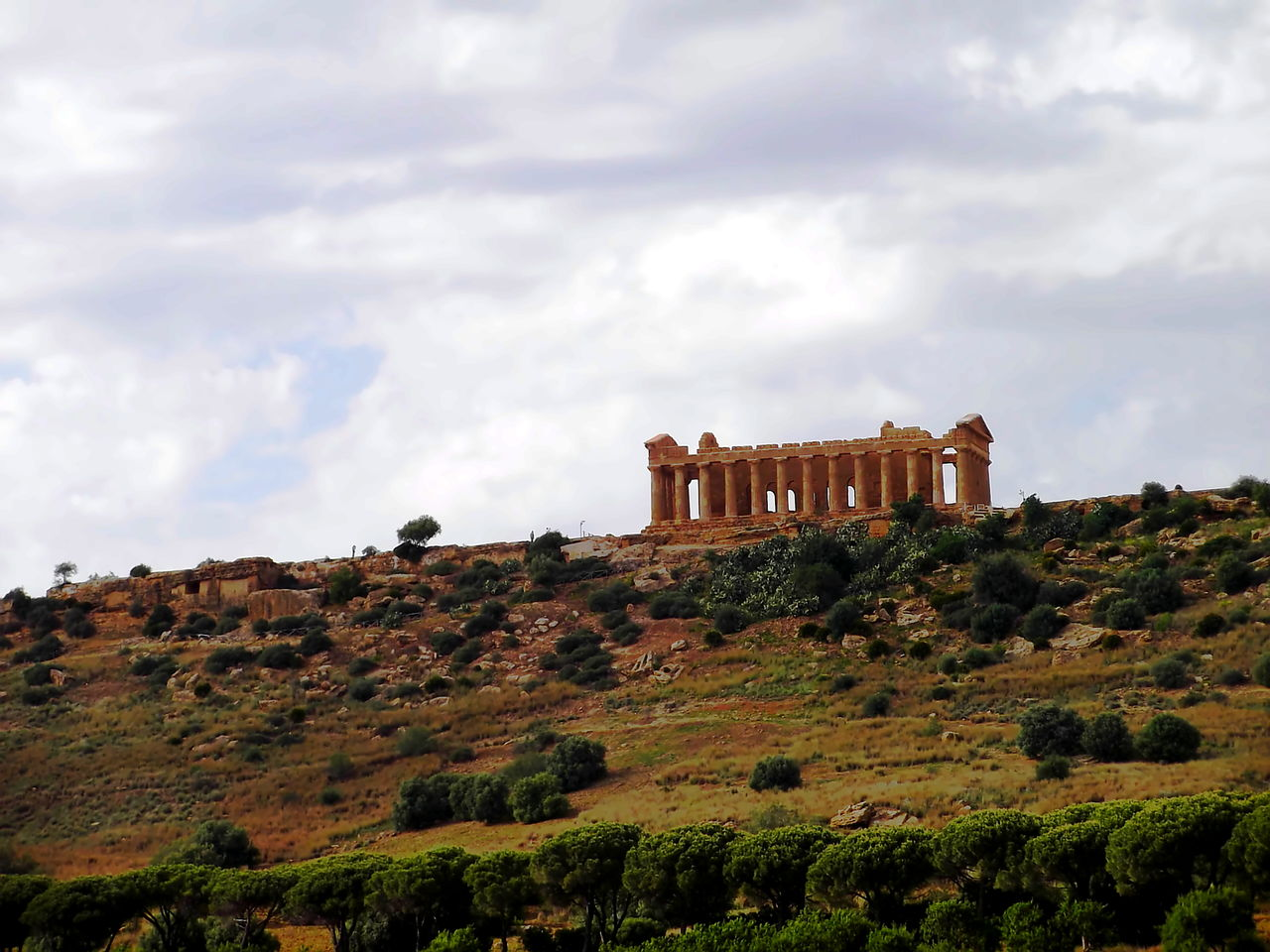 Agrigento Antica Grecia Architecture Building Exterior Cielo Nuvoloso Cloud - Sky Grass History Low Angle View Natura Nature No People Outdoors Sicily Sito Archologico Tempio Dorico Tree Valle Dei Templi Veduta Dalla Macchina Vegetazione