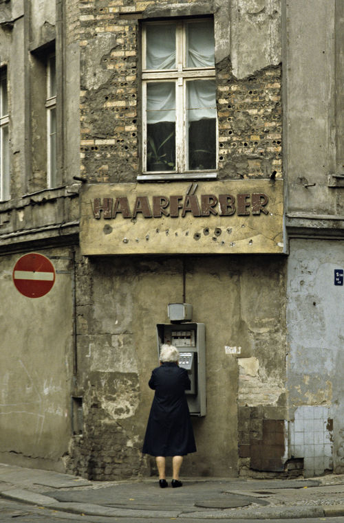 A Decayed Building Adult An Old Woman Telephoning Building Exterior Built Structure Connecting People Day East Berlin, East Germany Haarfärber Looking For Hair Colours New Look ! One Person Outdoors