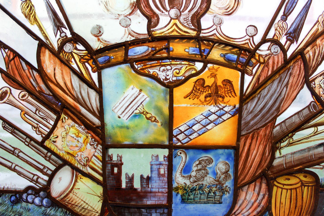 Painted glass window in focus museum Sforza Milan Italy, art from XVII century Architecture Art And Craft Built Structure Close-up Day Gold Colored Indoors  Italy Lombardia No People Painted Glass Window Sforza Sforzacastle Window