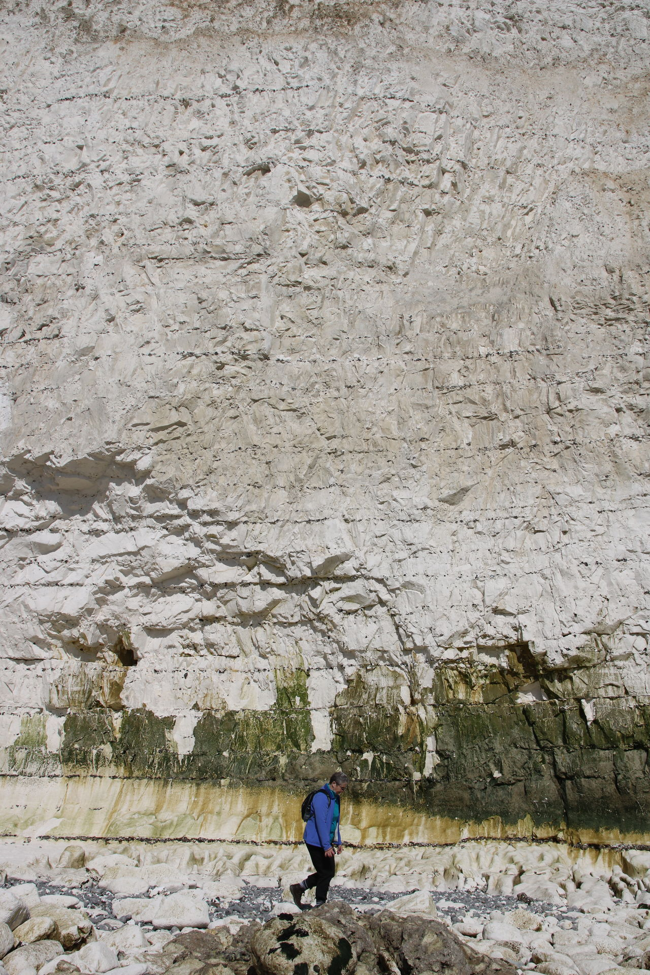 Adult Adventure Beach Walk Beauty In Nature Birling Gap Chalk Cliffs Day Eastbourne England Full Length Hiking Nature One Person Outdoors People Real People Seven Sisters Sussex Sussex Coast Walking Water