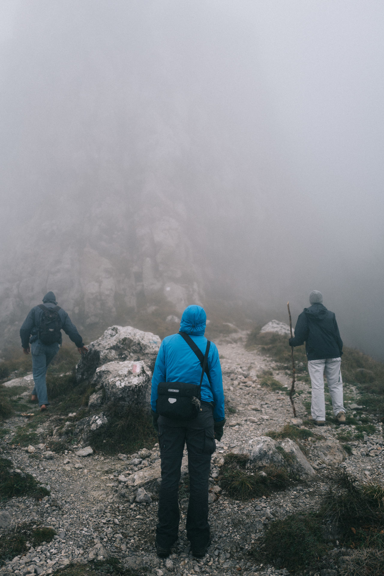 Beauty In Nature Day Fog Hiking Jacket Mountain Nature Outdoors People Rear View Warm Clothing Weather