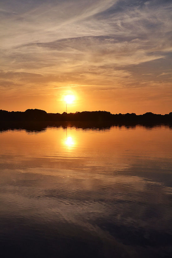 Beauty In Nature Calm Camping Place Cloud Idyllic Lake Lake Ratzeburg Majestic Nature No People Orange Color Outdoors Reflection Romantic Sky Scenics Silhouette Sky Sun Sunset Sunset_collection Tranquil Scene Tranquility Vibrant Color Water Waterfront