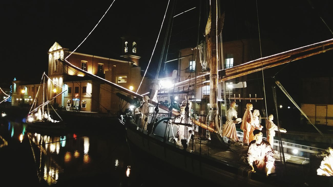 Night Illuminated Nautical Vessel Lighting Equipment Arts Culture And Entertainment Travel Destinations City Nightlife Nativity Outdoors Sailing Ship Occupation nativity Christmastime
