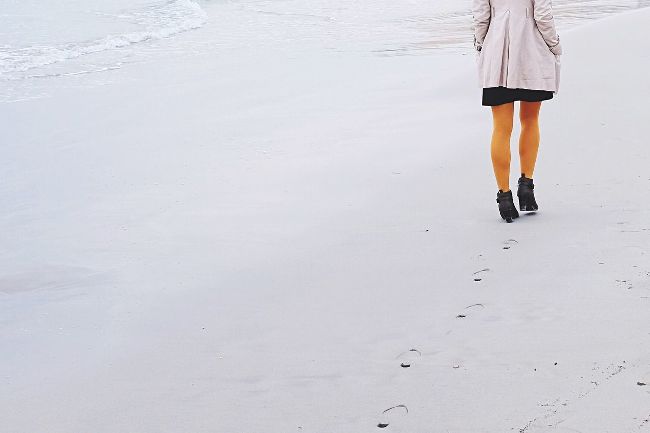 Long Goodbye One Person Walking Women Human Leg Sand Outdoors Winter Light FujiX100T Fujifilm_xseries Beach Seascape Seaside Atmosphere Girl Legs Yellow Real People Standing