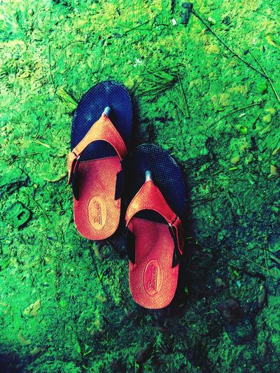 Sandals Nokia3 Mobilephotography Vintage Darkroom Green Color Nature Outdoors Grass High Angle View Sunglasses Shoe Pair No People Day First Eyeem Photo