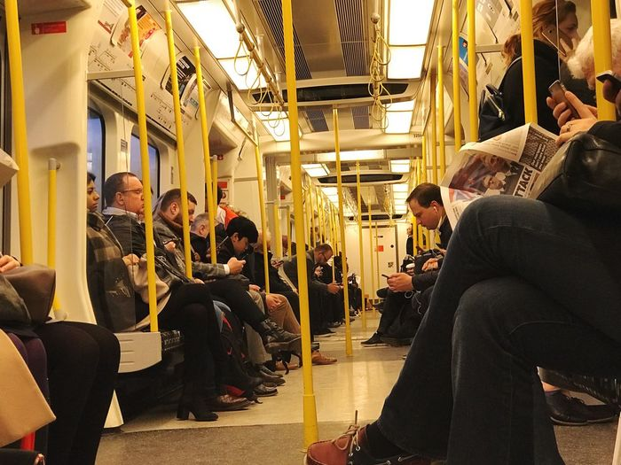 Public Transportation Large Group Of People Subway Train Train - Vehicle Men Passenger Journey Sitting Women Indoors  Commuter Real People Crowd People Adult Day Adults Only London Tube Station