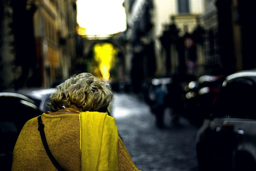 Live For The Story Rear View Focus On Foreground One Person Street Real People Outdoors Yellow Day People Women City Adult Lifestyles Adults Only Blond Hair One Woman Only The Photojournalist - 2017 EyeEm Awards The Street Photographer - 2017 EyeEm Awards Place Of Heart Paint The Town Yellow