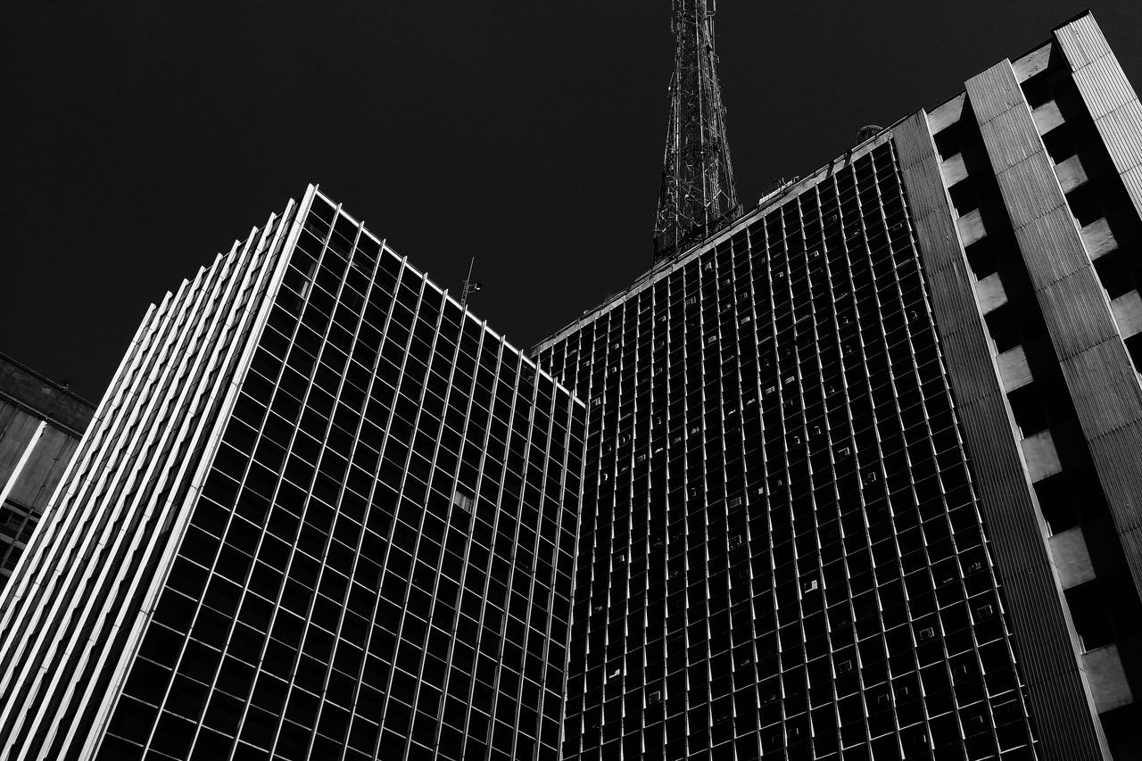 Low Angle View Architecture No People Built Structure Sky Building Exterior Blackandwhite Black & White Brazil City Building São Paulo Avenida Paulista Phoneography Grey Window Lines And Angles Lines Black Streetphotography Street Streetphoto Street Life
