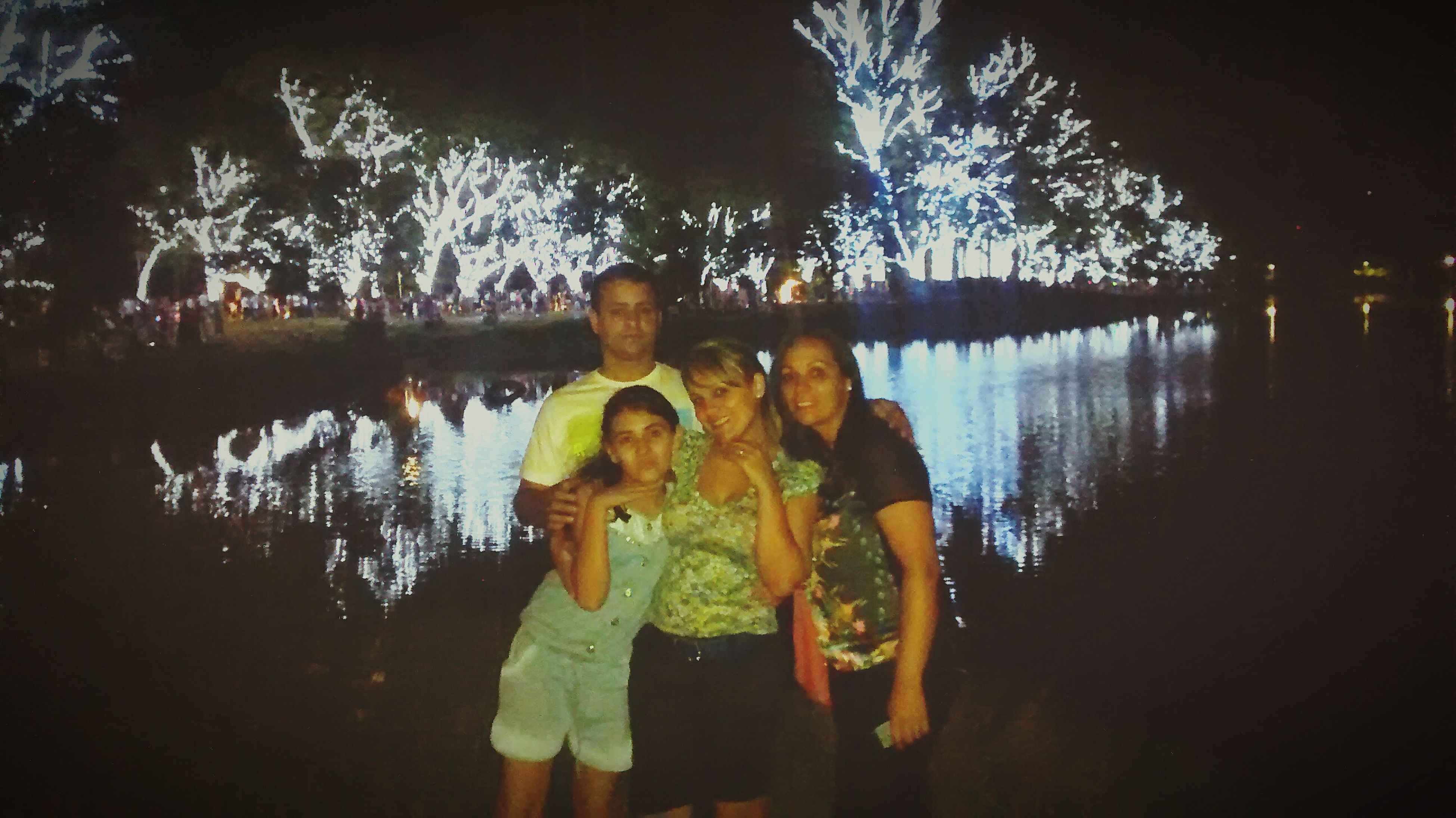 lifestyles, leisure activity, childhood, water, person, elementary age, boys, tree, girls, casual clothing, lake, togetherness, reflection, standing, full length, bonding, three quarter length